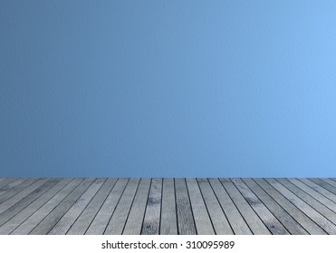 Front view of a empty room with blue wall and gray wood floor