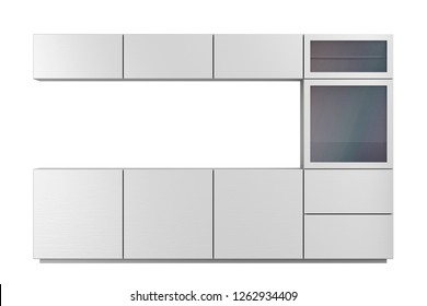 Front view of an empty tv cabinet for living room, isolated on white background. 3D illustration