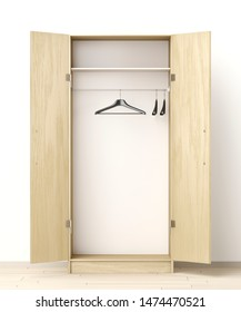Front view of empty wardrobe in the room, 3D illustration
