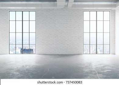Front view of empty white brick interior with concrete floor and panoramic windows with city view and sunlight. Real estate concept. 3D Rendering