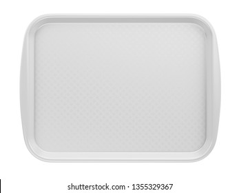 Front view of Empty White Plastic Tray salver with Handles Isolated On White. 3d rendering