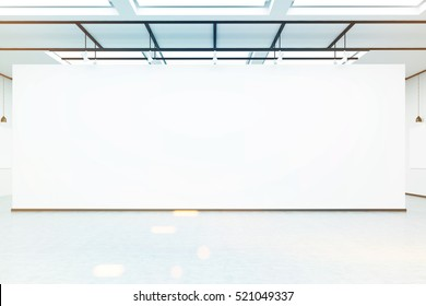 Front view of an empty white wall in a room with concrete floor in an art gallery or exhibition hall. 3d rendering. Mock up. Toned image