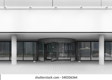 Front view of an entrance to the office building with white walls and glass doors. Concept of work in a large company. 3d rendering. Mock up.