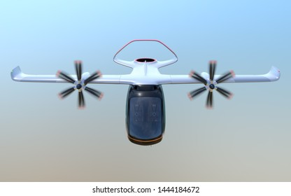 Front view of E-VTOL passenger aircraft flying in the sky. Urban Passenger Mobility concept. 3D rendering image.