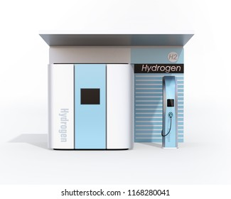 Front view of fuel Cell Hydrogen Station concept. 3D rendering image.