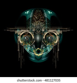 Front view of a futuristic cyborg face. 3D Illustration
