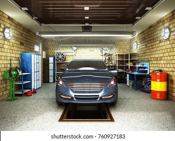 Front View of a Garage with a car 3D Interior with Opened Roller Door 3D Rendering