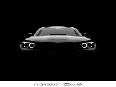 Front view of a generic and brandless modern car on a black background. 3D illustration