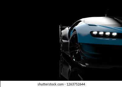 Front view of a generic and brandless modern car on a dark background, 3d illustration