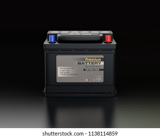 Front view of generic maintenance-free car battery on black background. 3D rendering image.