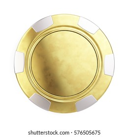 Front view of Gold casino chip isolated on white - 3d render.