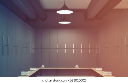 Front view of a gray locker room with benches along the rows of lockers. There are rolled towels on them. 3d rendering, toned