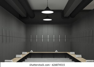 Front view of a gray locker room with benches along the rows of lockers. There are rolled towels on them. 3d rendering