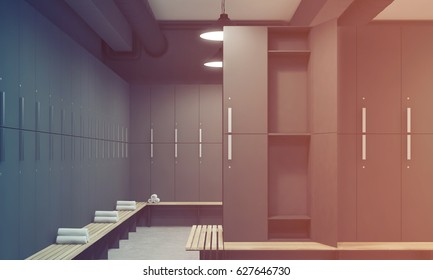 Front view of a gray locker room with benches along the rows of lockers. One of the lockers door is open. 3d rendering, toned image