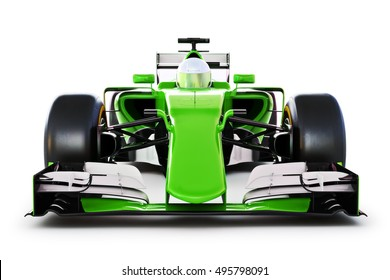 Front view of a green race car and driver on a white isolated background. 3d rendering