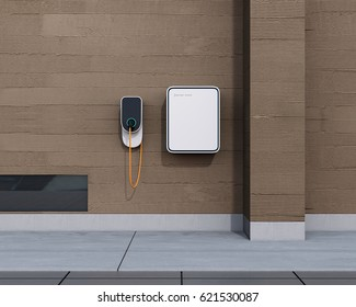 Front view of home electric vehicle charging station and battery on the wall. 3D rendering image.