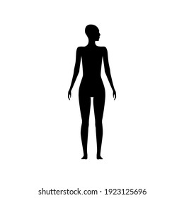 Front view human body silhouette of an adult female with a head turned to side.
