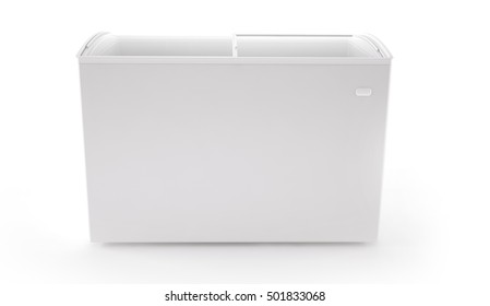 Front view ice cream freezer isolated on white background. Store ice fridge clean blank. 3d rendering.