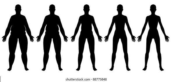 A front view illustration of 5 female silhouette's in different stages ranging from obese to skinny. Isolated on a solid white background.