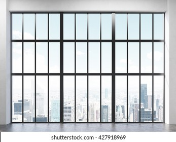 Front view of interior with concrete floor and large framed window with New York city view. 3D Rendering
