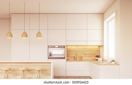 Front view of kitchen with oven, sink, countertops and window. Concept of healthy food. 3d rendering. Mock up. Toned image