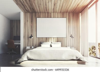 Front view of a light wooden wall bedroom interior with a double bed, a bedside table, a horizontal poster and a large window with mountain view. 3d rendering, mock up, toned image