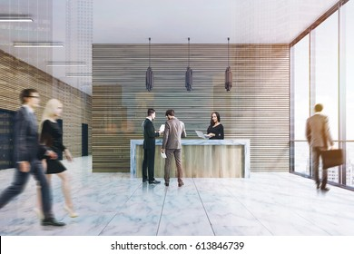 Front view of a ligth wood reception counter standing in an office lobby with marble floor and armchairs. There are people in it. 3d rendering. Double exposure