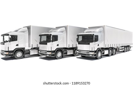 Front View of Lined up Semi Trailer Trucks 3d rendering