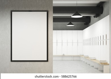 Front view of a locker room with framed poster hanging on a light gray wall, a row of white storage lockers near the wall and a bench with rolled towels on it. 3d rendering. Mock up.
