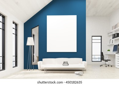 Front view of lounge area in office interior with blank whiteboard on blue concrete wall, floor lamp, couch, coffee table with decorative vase, books and windows with city view. Mock up, 3D Rendering