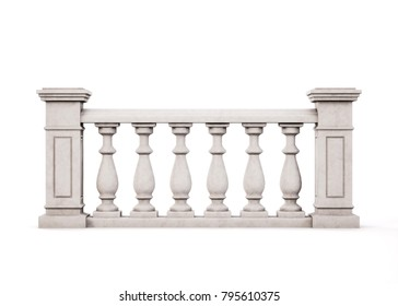 Front view marble balustrade on white background. 3d rendering.