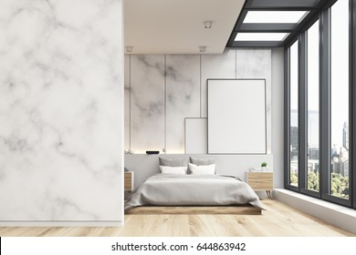Front view of a marble bedroom interior with a panoramic window, a vertical framed poster near it and a double bed. 3d rendering, mock up, toned image