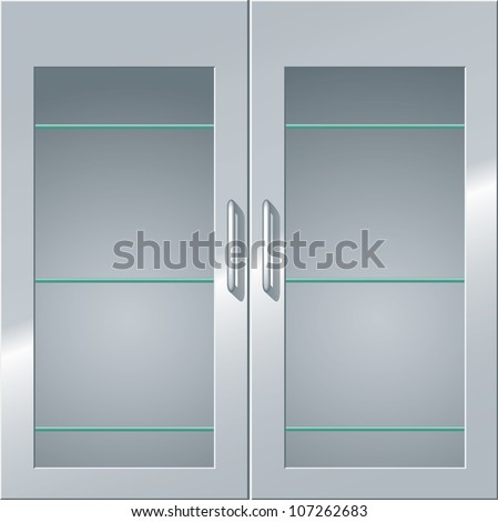 Front View Metal Cabinet Glass Doors Stock Illustration 107262683