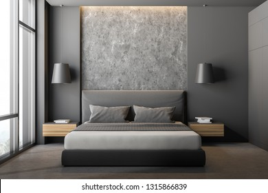 Front view of modern bedroom with gray and stone walls, stone floor, large window, gray master bed with wooden bedside tables and gray wardrobe. 3d rendering
