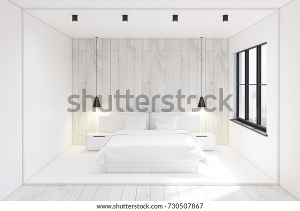 Front view of a modern bedroom interior with white and woden walls, a concrete and wooden floor and two bedside tables near a double bed. 3d rendering mock up