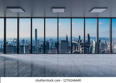 Front view modern empty office with panoramic skyline view at bright daylight - 3D Illustration