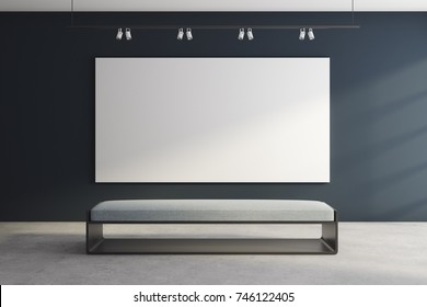 Front view of modern exhibition hall with empty banner and bench. Gallery, advertisement, presentation concept. Mock up, 3D Rendering