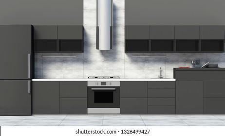 Front View of Modern Kitchen 3D Interior in Black. 3D Rendering