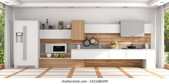 Front view of modern white and wooden kitchen - 3d rendering