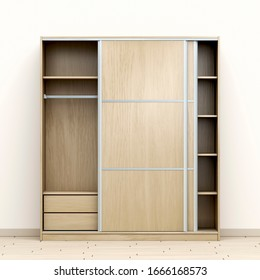 Front view of modern wood wardrobe in the room, 3D illustration
