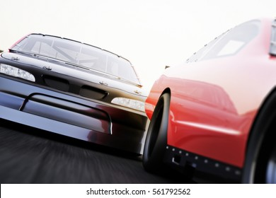 Front view of motor sports auto racing race cars racing on a track with Depth of Field ,motion blur and room for text or copy space advertisement . 3d rendering.