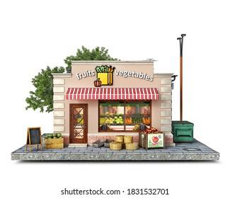 Vorderansicht auf dem Obst- und Gemüsemarktgebäude, 3D-Abbildung