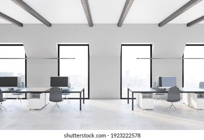 Front view on modern comfortable workplace in spacious coworking office with marble floor, minimalistic furniture and city view. 3D rendering