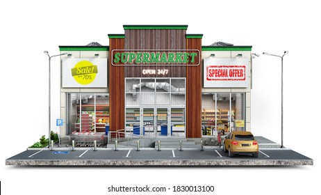 Front view on a modern supermarket and surrounding area, 3d illustration