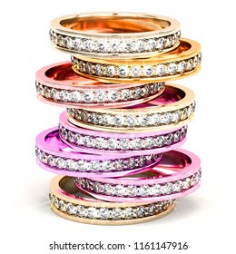 Front view on a stack of multi colored diamond rings. 3d illustration