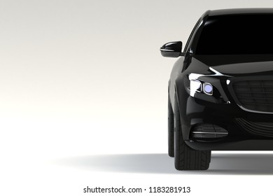 Front view part of black modern car closeup on white background, headlights detail - 3d illustration