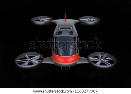 Front view of Passenger Drone on black background. 3D rendering image.