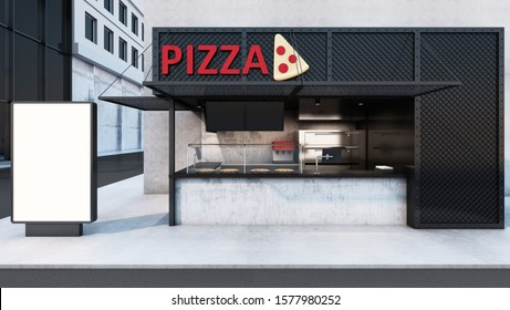 Front view Pizza shop & Restaurant design. Modern minimal metal black. wall concrete,windows black metal frame- 3D render
