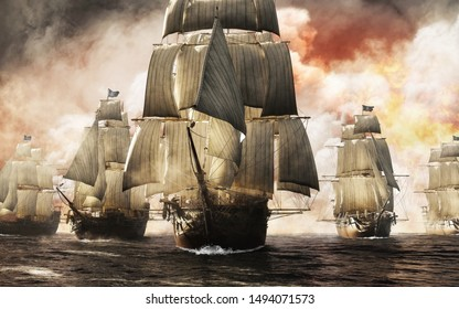 Front view of a raider pirate ship fleet piercing through the smoke and the fog after a successful attack leaving destruction behind. 3d rendering