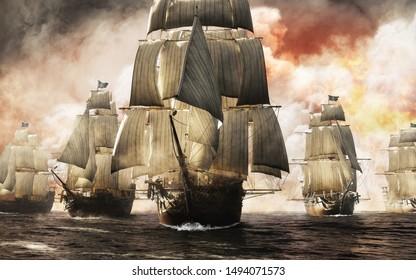 Front View einer Piratenschiffflotte, die nach einem erfolgreichen Angriff durch Rauch und Nebel pierst und die Zerstörung hinterlässt. 3D-Rendering